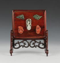CHINESE TABLE SCREEN W/ JADE INSERTS, REPUBLIC