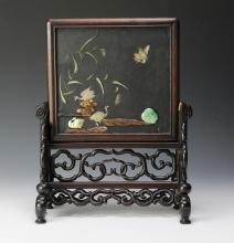 CHINESE TABLE SCREEN W/ PRECIOUS STONES, 19TH C