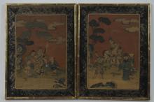 PAIR OF CHINESE KESI PANELS W/ 8 IMMORTALS, 19TH C