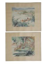 PAIR OF CHINESE WATERCOLOR PAINTINGS BY WANG YACHEN