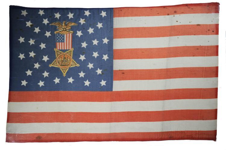 Rare 38 Star GAR American Parade Flag