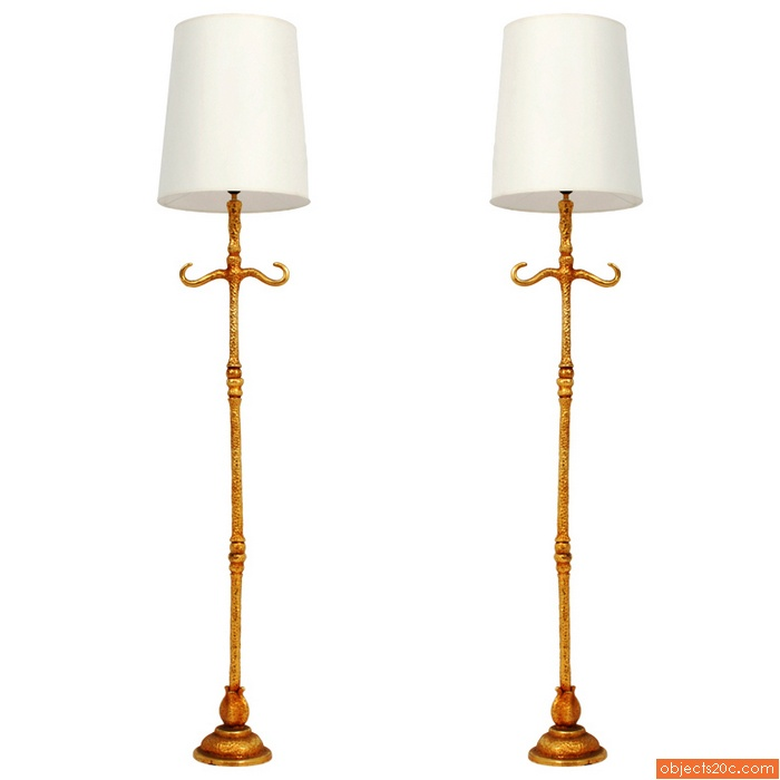 Rare Pair of De Wael for Fondica French Floor Lamps