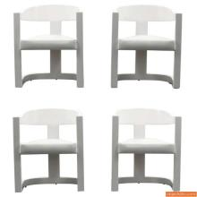 Karl Springer ONASSIS Armed Dining Chairs, Set of Four