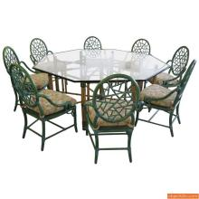McGuire Dining Table & Eight Arm Chairs