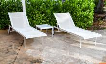 Pair of Richard Schultz Chaise Lounge Chairs and Side Table