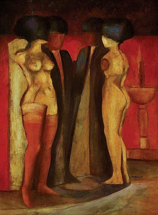 Armando Morales Deux femmes nus avec deux monseurs