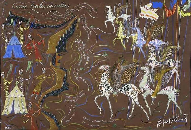 Alberti Rafael Como leales vasallos  Gouache y pastel s/ cartulina  1951 68 x 99,5 cm.