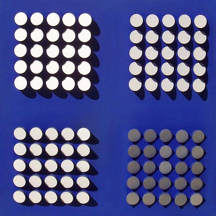 Narciso Debourg 4 Blancs  Madera y pintura acrílica  París, 1975  70 x 70 x 7.5 cm. Graphic Gallery, Caracas