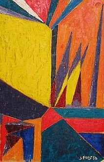 Jean Pons Composición  Óleo s/canvas  1950 30 x 20 cm.