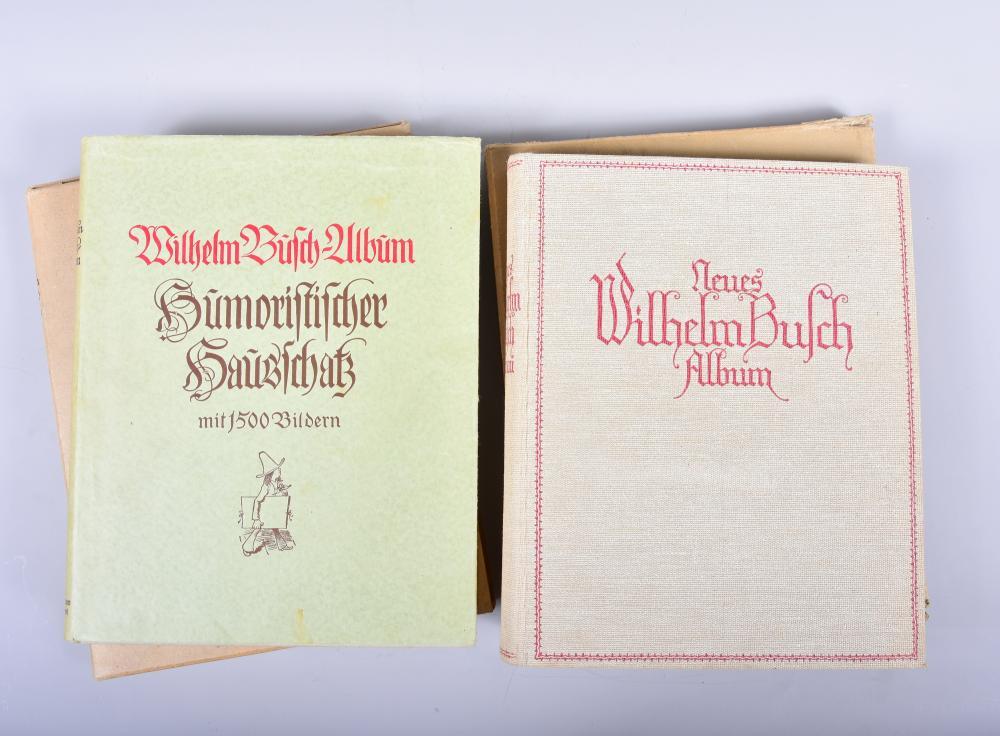 """""""Neues Wilhelm Busch Album"""", Verlagsanstalt H. Klemm, Berlin 1936, mit 1600 Bildern, """"Wilhelm Busch Album""""Verlag Fr. Bassermann München 1936 mit 1500 Bildern, beide Bücher Leineneinband im Originalschuber, s.g. Erhalten"""