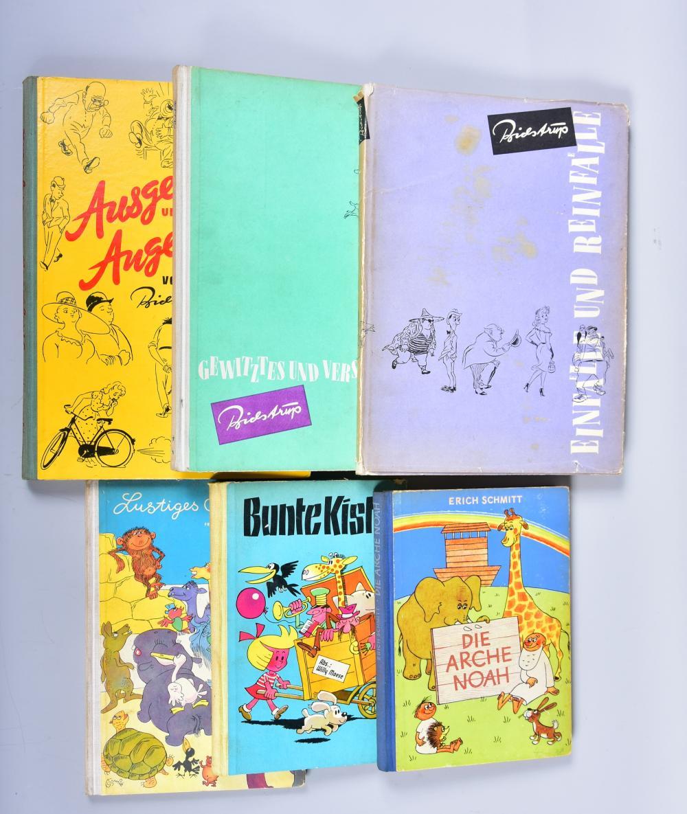 "Konvolut Karikaturbücher, 6 Stück, u.a. H. Bidsdrup ""Ausgelacht u. Angelacht"",1953, ""Einfälle u. Reinfälle"",1957, ""Geschwitzes u. Verschmitztes"",1955, W. Moese und E. Schmitt 1953, gute Erhaltung, leichte Gebr.-spuren"