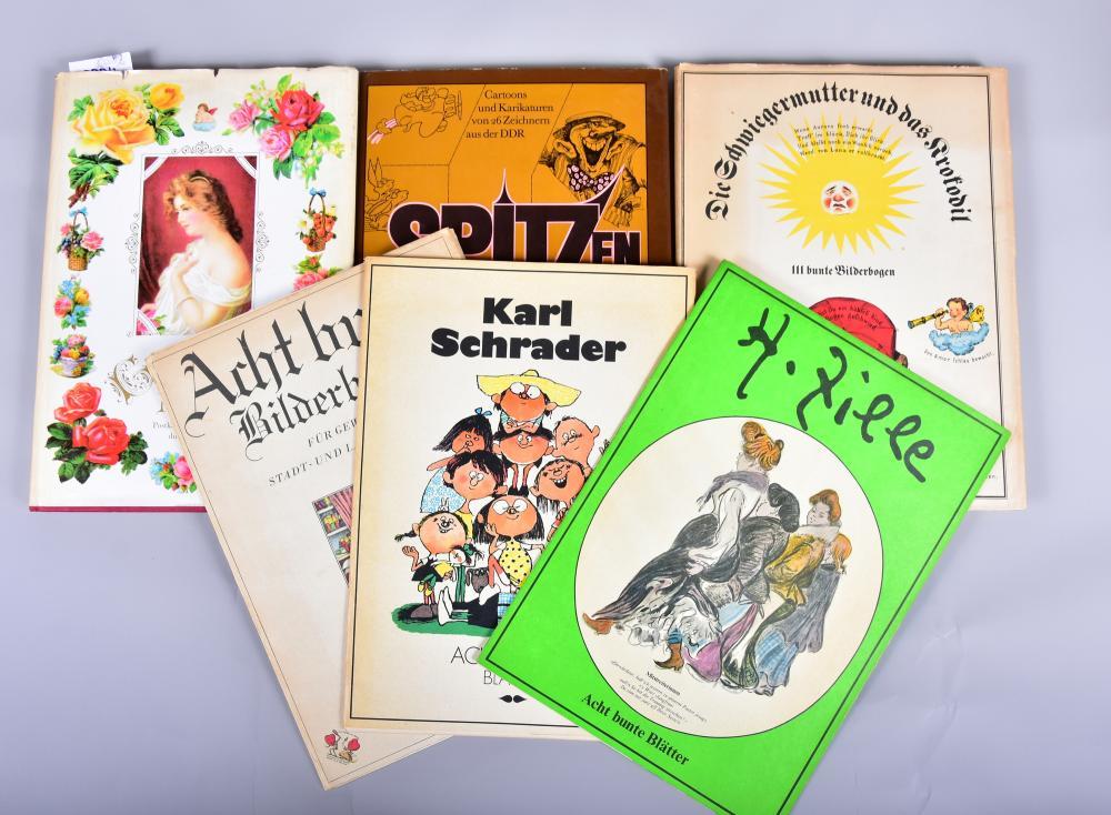 """""""Acht bunte Bilderbogen""""u.a.v. C. Schrader, H. Zille, """"Die Schwiegermutter u.d. Krokodil"""", """"Cartoons u. Karikaturen v. 26 Zeichnern a.d. DDR"""", """"Gedenke mein, Postkarten v. anno dunnemals"""" alles Eulenspiegel-Verl. 1968-82"""
