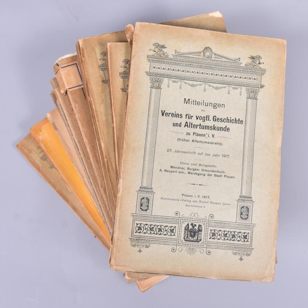 """""""Mitteilungen des Vereins f. Vogtländ. Geschichte"""", 14 Ausgaben von 1912-1941, nicht komplett, Selbstverlag und Komm.-verlag Rudolf Neupert Plauen, Gebrauchsspuren"""