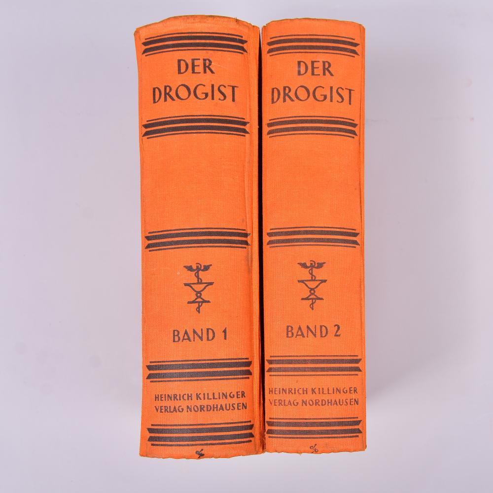 """"""" Der Drogist"""" 1.u.2. Band, Lehr-u. Nachschlagebuch f. Drogisten u. Apotheker, Prof.Dr.E. Freise u. Dr.Fv.Morgenstern, H. Killinger Verlagsgesell.m.b.H., Nordhausen/H.,um 1930, leichte Gebrauchsspuren"""