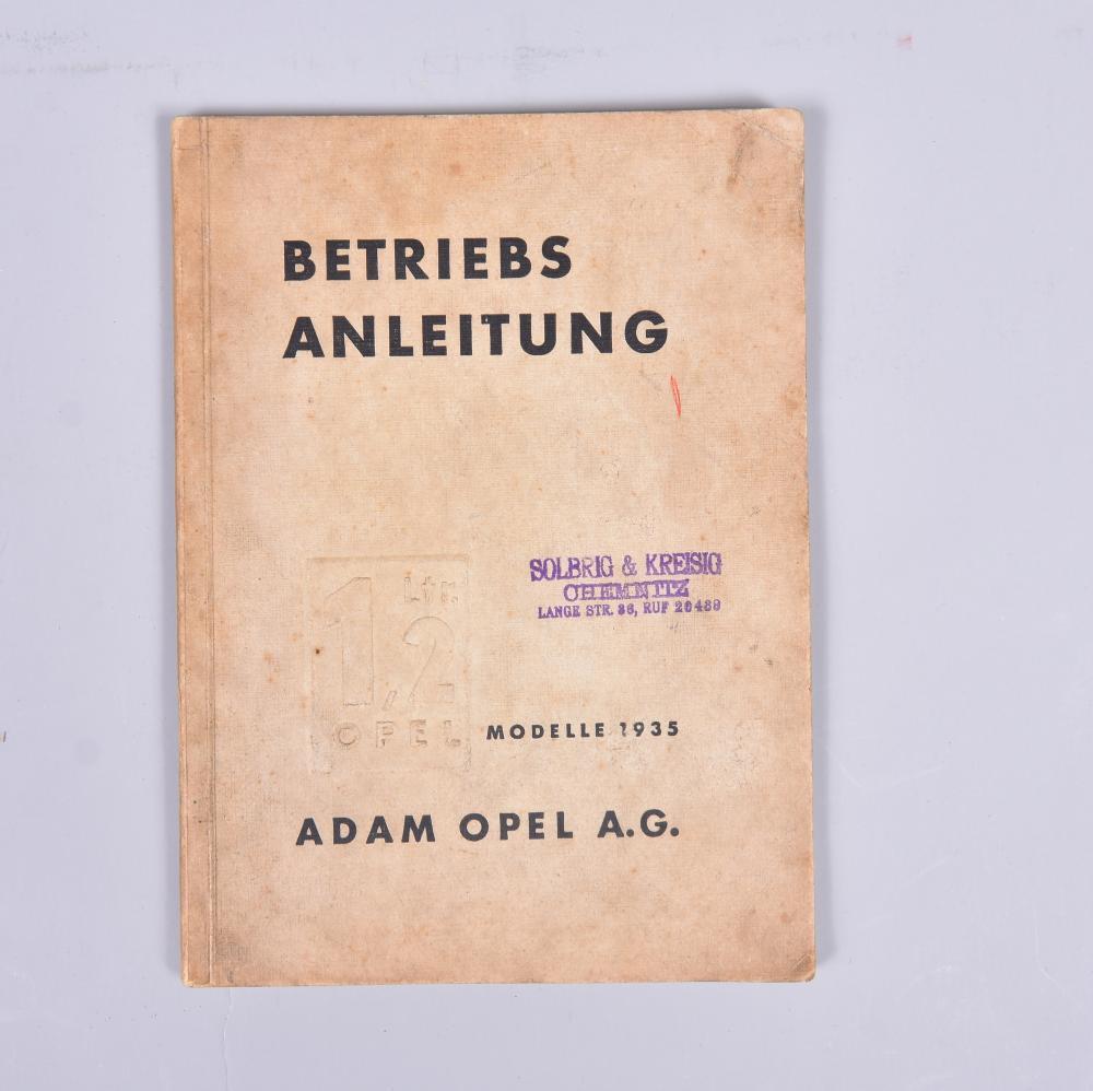 """""""Anleitung zum Betrieb u. zur Instandhaltung des 1,2 Ltr. OPEL"""", 1935, Adam Opel AG, Rüsselsheim/Hessen, leichte Alters-u. Gebrauchsspuren"""