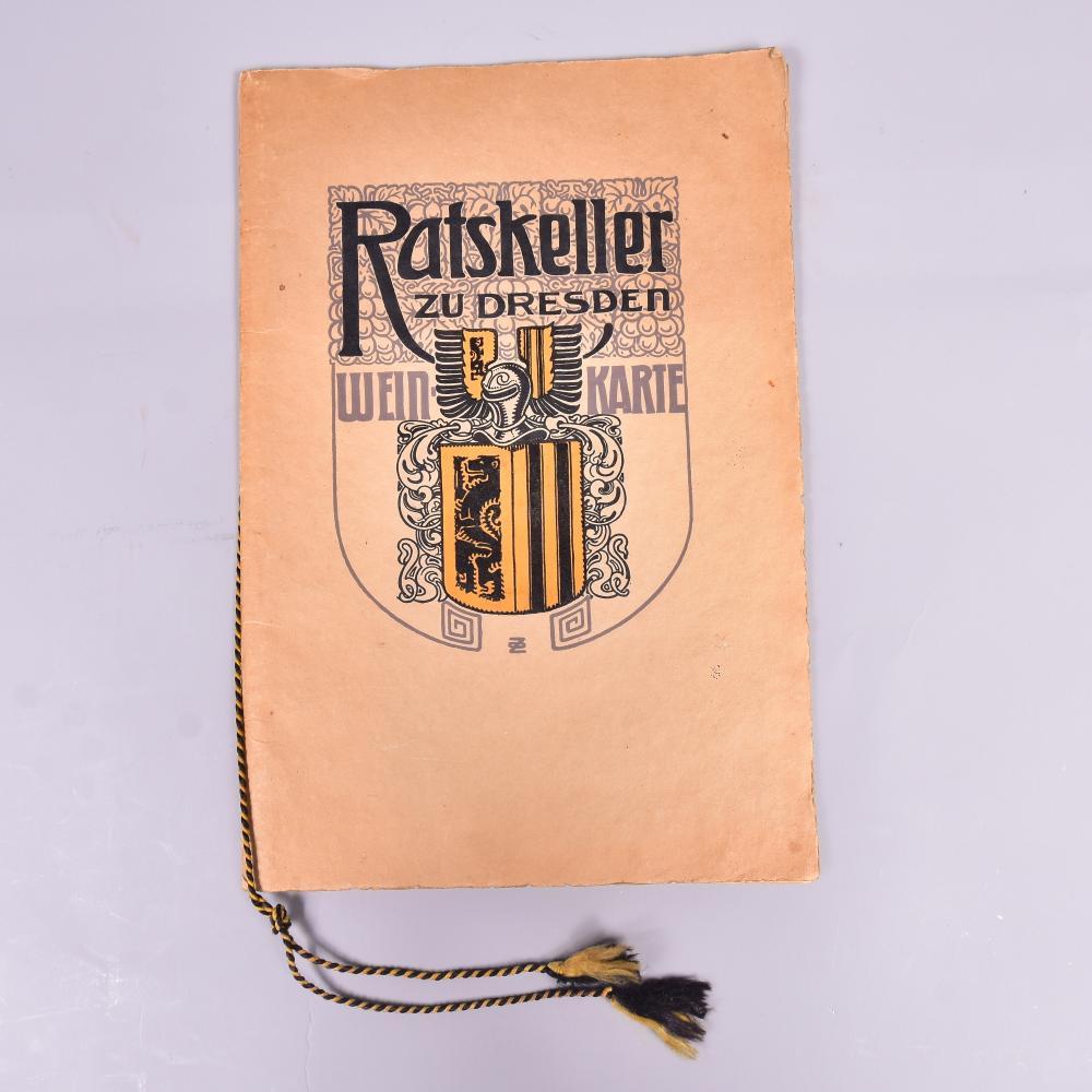"""""""Weinkarte Ratskeller zu Dresden"""", um 1910, Sammlerstück, wunderschöner Zeitzeuge im Jugendstil, Deckbl. O.Ziegenfuss, 12 Seiten, Druck H.B. Schulze (B. Dietzsch) Dresden, guter Zust., 25x37 cm"""