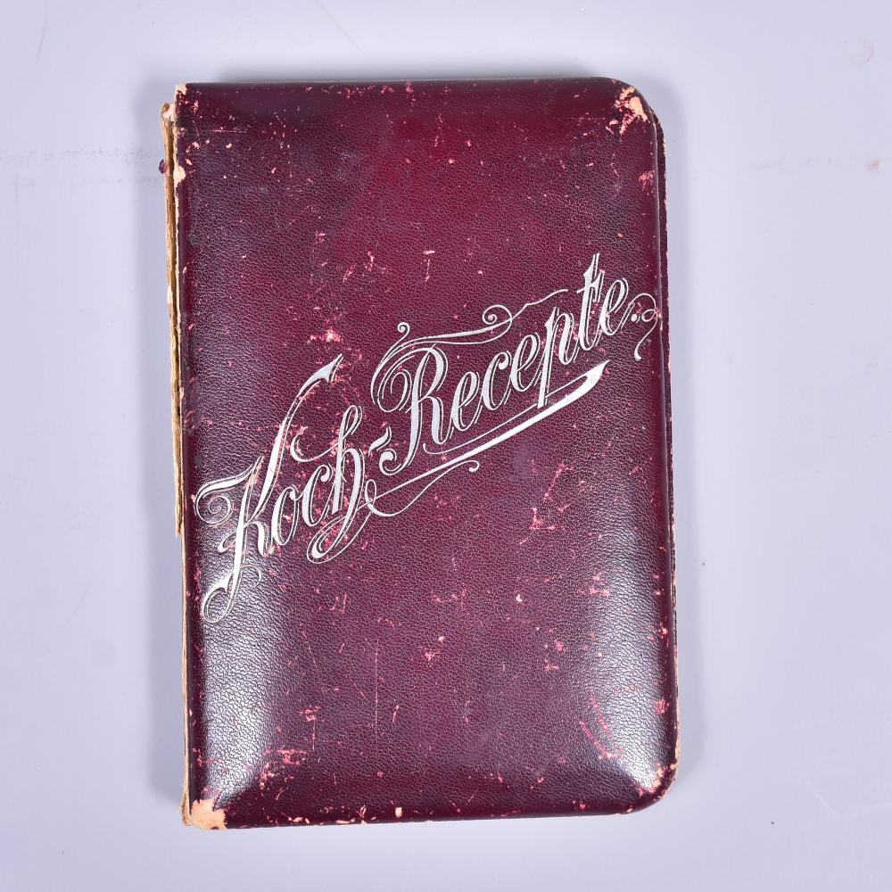 Kochbuch, handgeschriebene Kochrezepte von Suppe bis Kompott um 1900, Alters-und Gebrauchsspuren