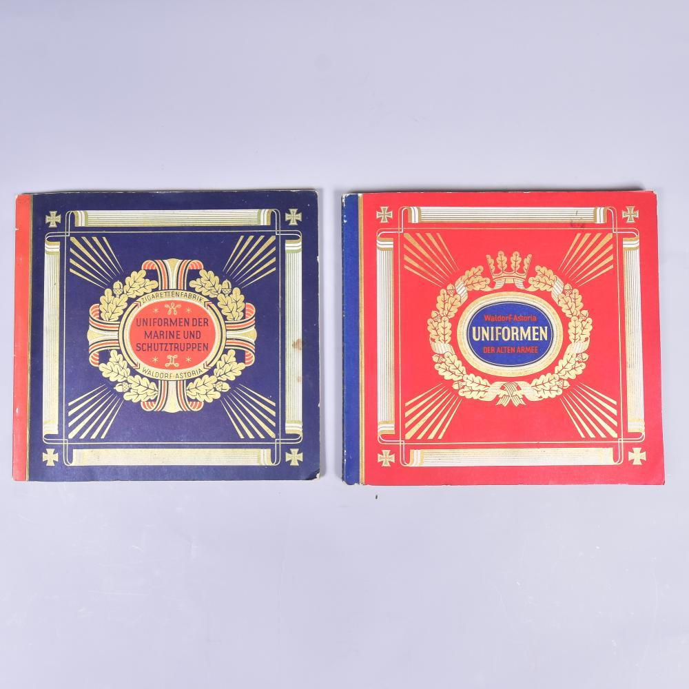 """Zigarettenbilder-Alben, Waldorf Astoria München, 2 Bände, """"Uniformen der alten Armee"""" und """"Uniformen der Marine-und Schutztruppen"""" guter Zustand"""