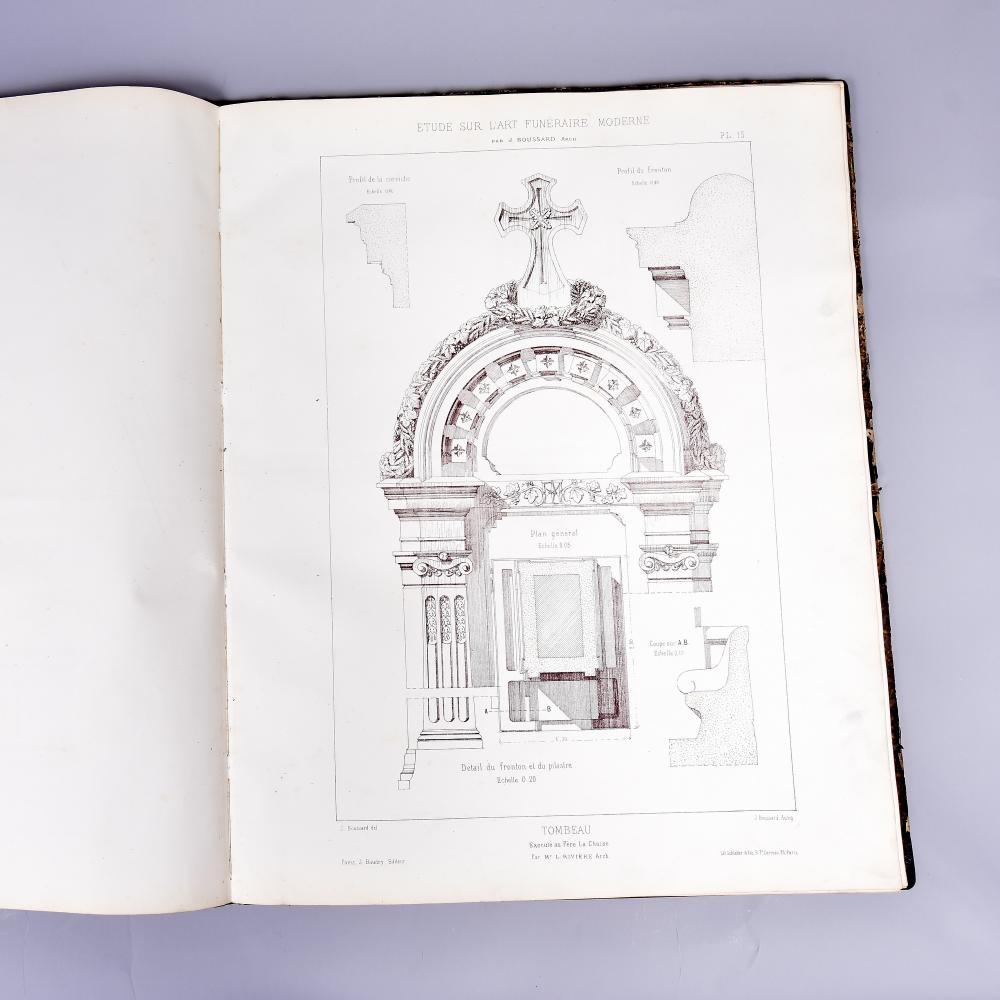 """""""Bestattungskunst der Moderne"""", 1870, lithogr. Fachbuch 31 Tafeln mit Entwürfen für Grabmonumente, Frankreich, Lárt funèraire, Paris, 44x55 cm"""