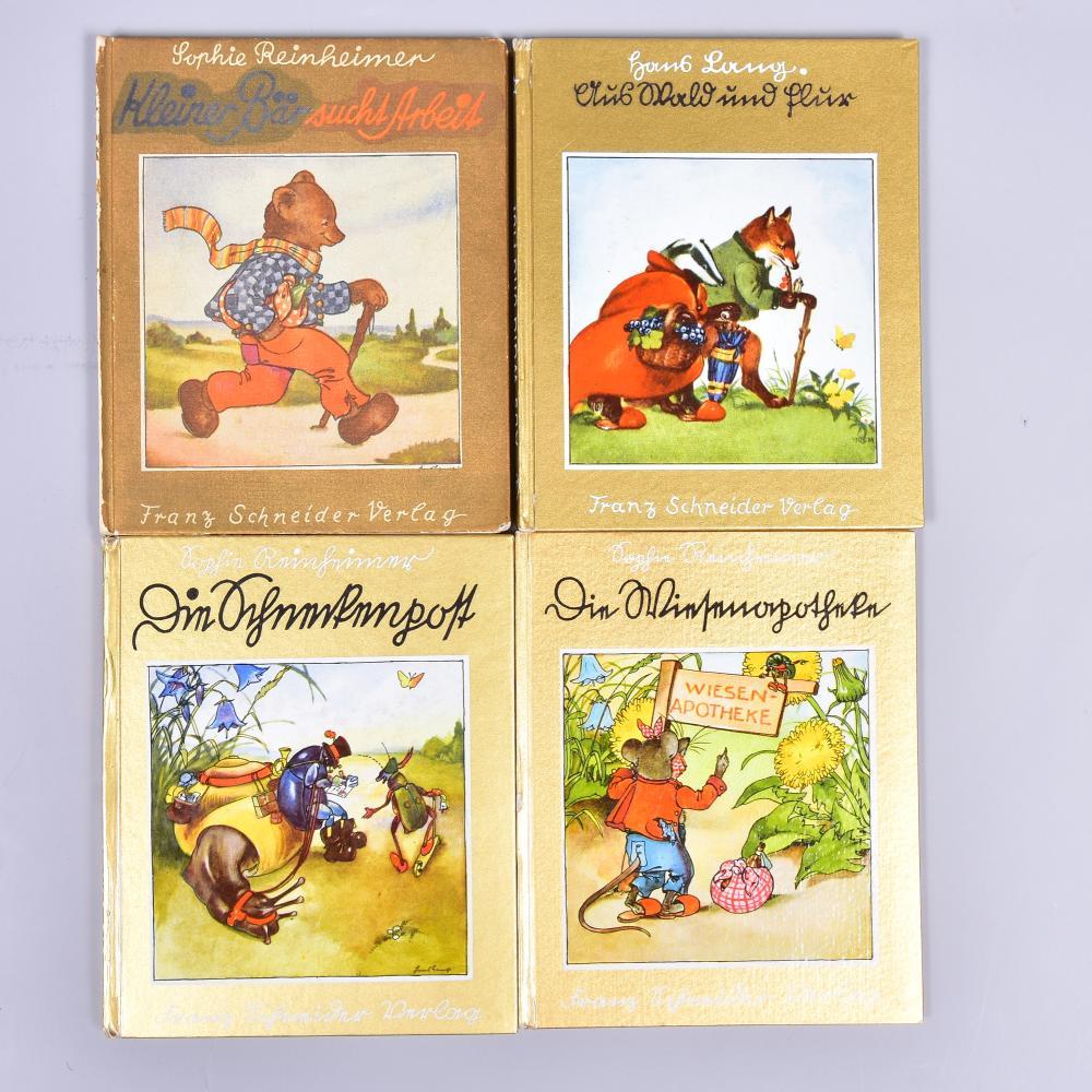 """Konvolut 4 Kinderbücher,"""" Die Schneckenpost"""" v. S. Reinheimer, """"Die Wiesenapotheke"""" v. S. Reinheim, """"Kleiner Bär sucht Arbeit"""" v. S. Reinheimer, """"Aus Wald u. Flur"""" von Hans Lang Verlag Franz Schneider/Berlin, Leipzig, Wien"""