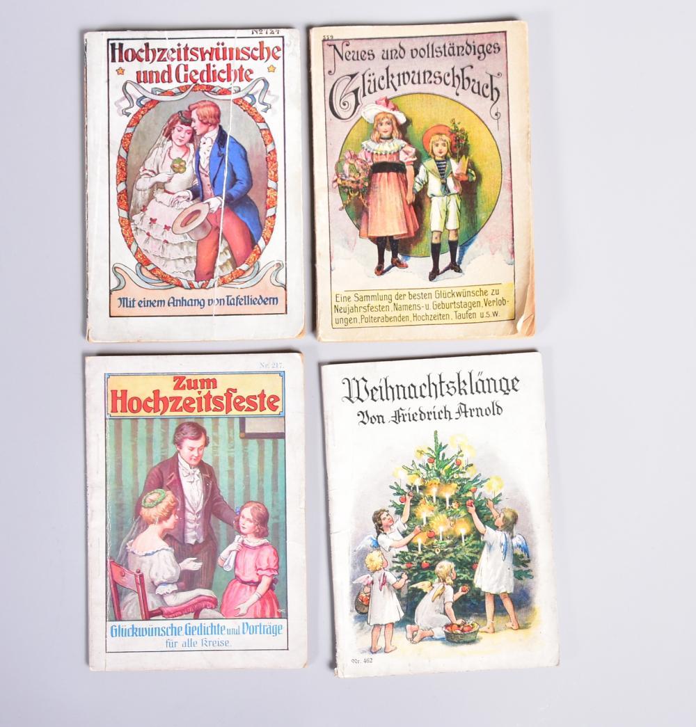 Konvolut Spruchsammlungen zu besonderen Anlässen, Hochzeit, Neujahrsfest, Weihnachten, Geburtstage, 4 Stück, um 1900, leichte Gebrauchsspuren