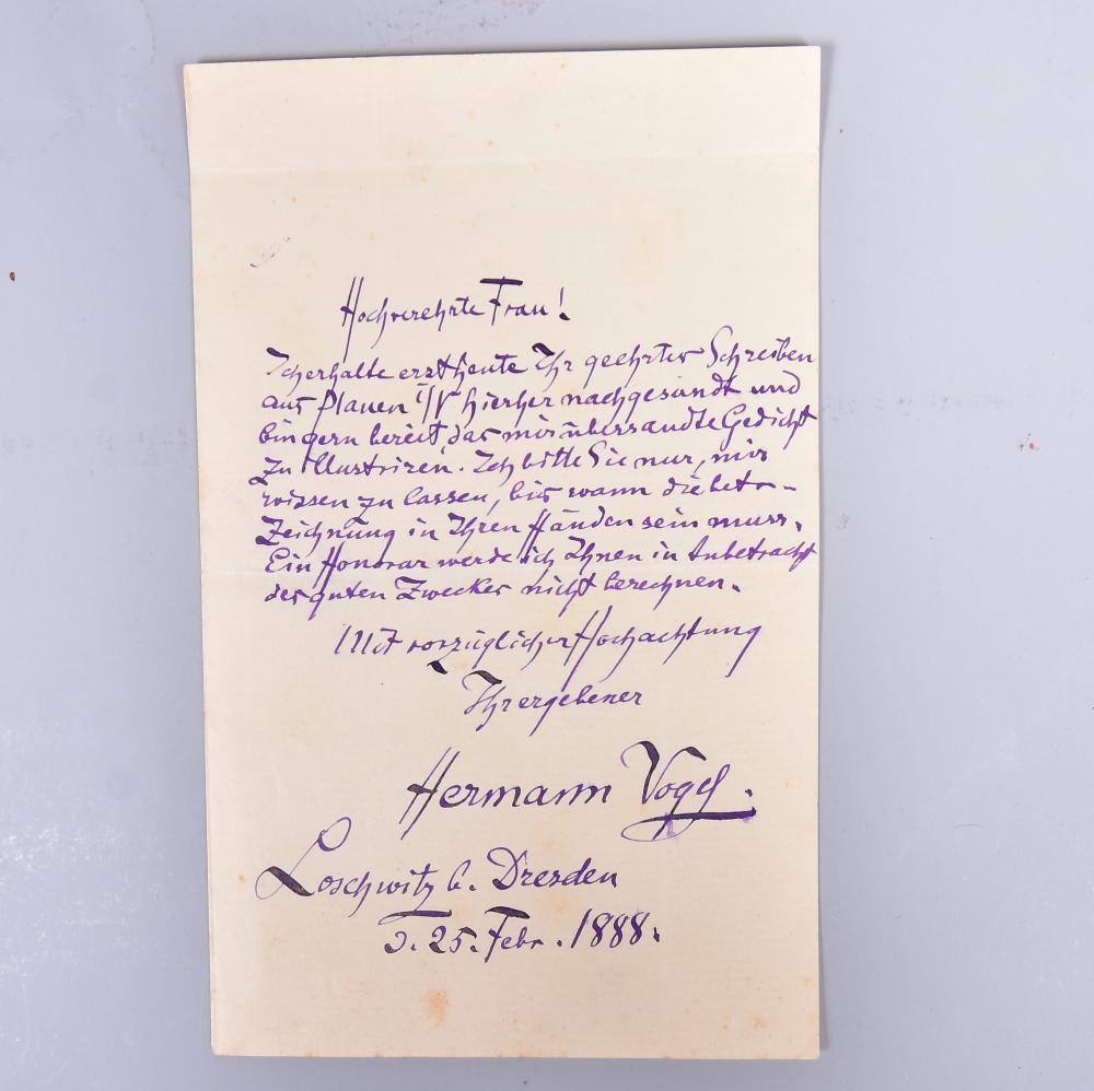 Original-Brief handgeschrieben von Hermann Vogel Loschwitz b. Dresden 25.Febr.1888 an die Hochverehrte Frau..., aus dem Nachlass Brauerei Hammer Plauen