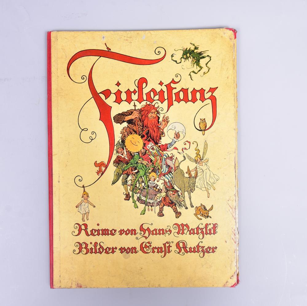 """""""Firleifanz"""" Reime v. Hans Watzlik, Bilder v. Ernst Kutzer, Druck u. Verlag Gebr. Stiepel G.m.b.H., Reichenberg 1922, Inneneinband komplett gelöst, sonst guter Zustand, leicht stockfleckig"""