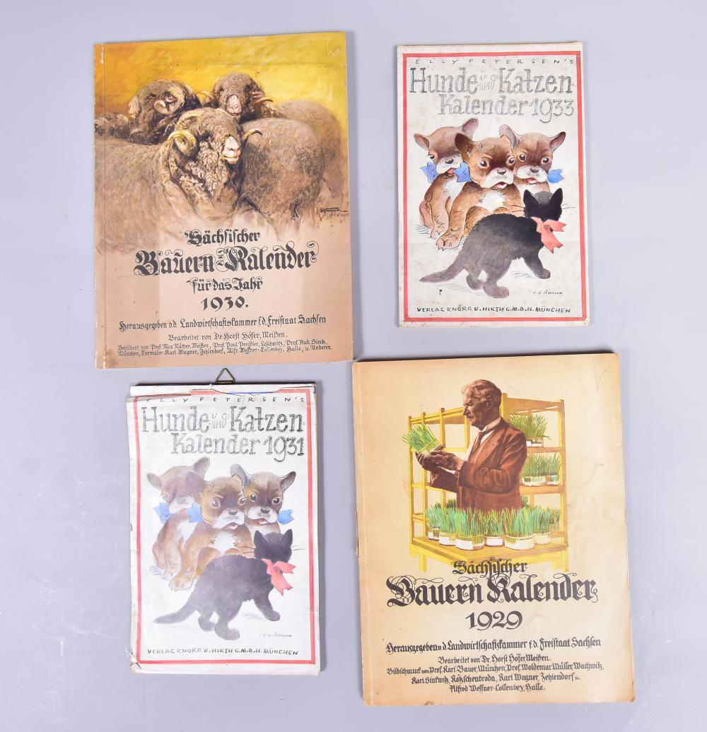 Konvolut Kalender, dabei 2 Bauernkalender 1929 u.1930/Herausgeber Landwirtschaftskammer f.d.Freistaat Sachsen, 2 Elly Petersen´s Hunde u.Katzenkalender 1931 u.1933/Verlag Knorr u.Hirth G.M.B.H.-München