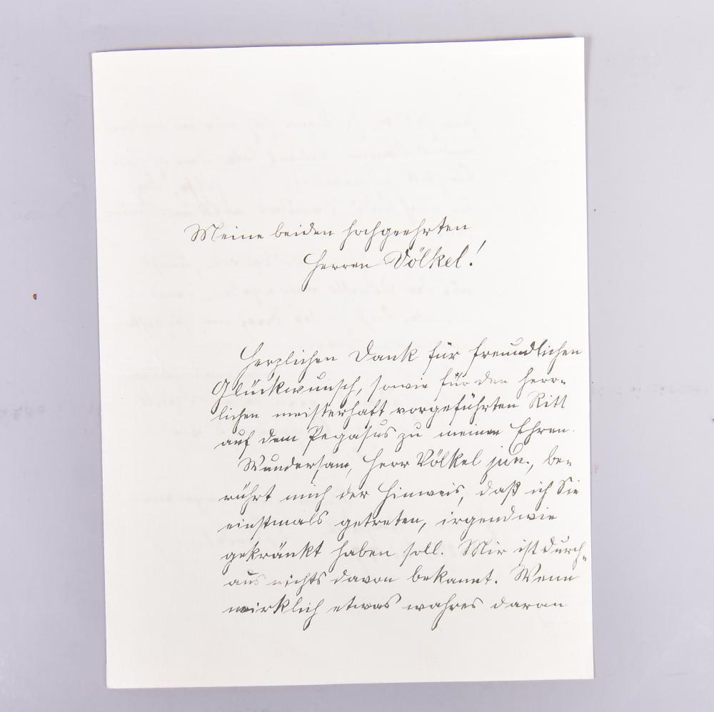 """Original-Brief von Louis Riedel (Dichter/Lehrer aus Meßbach) an die Herren Völkel senior 17. Mai 1917, Riedel bedankt sich für """"Ritt auf dem Pegasus"""" (frische Gedanken u. Neue Ideen) u. bittet um Nachricht f.Völkel junior"""