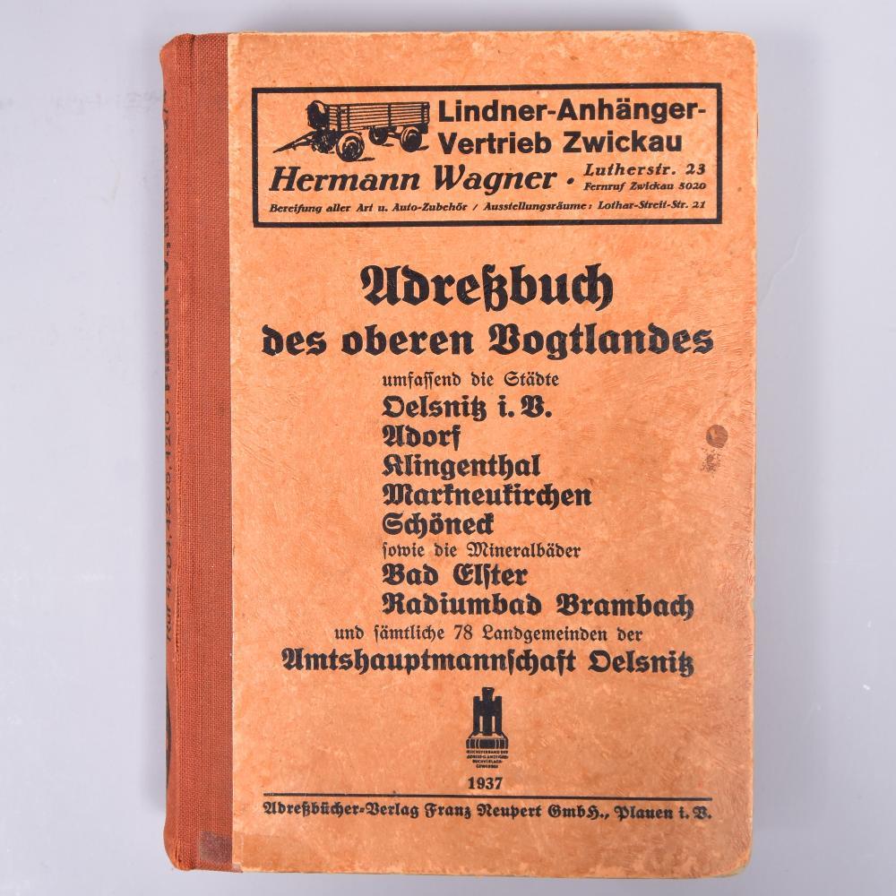 """Adreßbuch des oberen Vogtlandes"", Adreßbücher-Verlag Neupert GmbH, Plauen 1937"