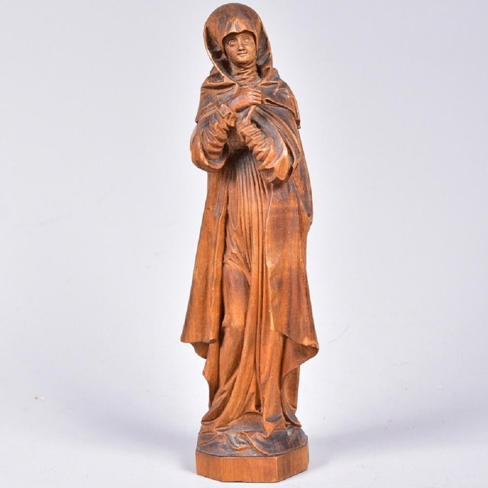 """Schnitzfigur """"Nürnberger Madonna"""", Abbild.d. Originales nach Tilmann Riemenschneider um 1510, Lindenholz geschnitzt, um 1900, H20cm"""