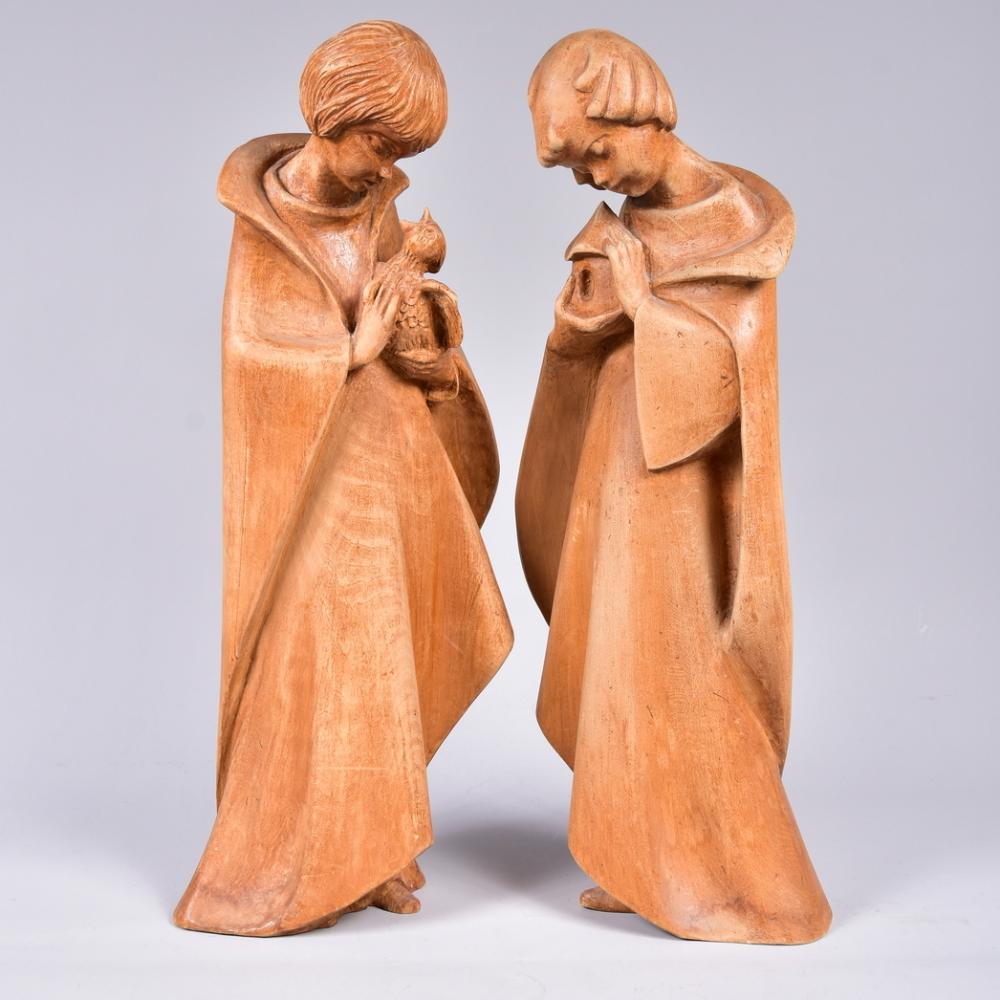 Paar Schnitzfiguren, Lindenholz, Süddeutschland, 20. Jh., H 43cm