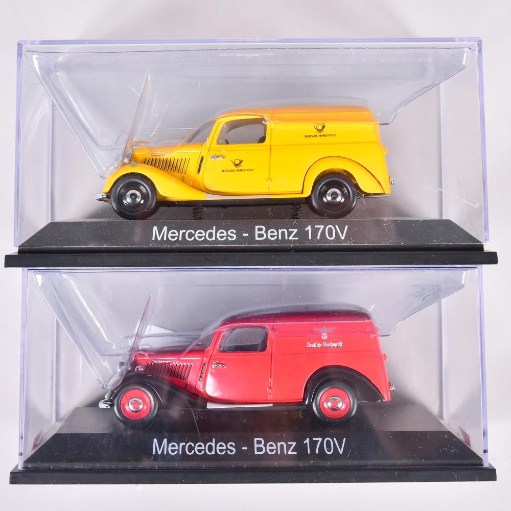 Modellauto´s Marke Schuco, 2 Stk., 2. Hälfte 20.Jh. im OK, Mercedes Benz 170V, 1x Dt. Bundespost, 1x Dt. Reichspost