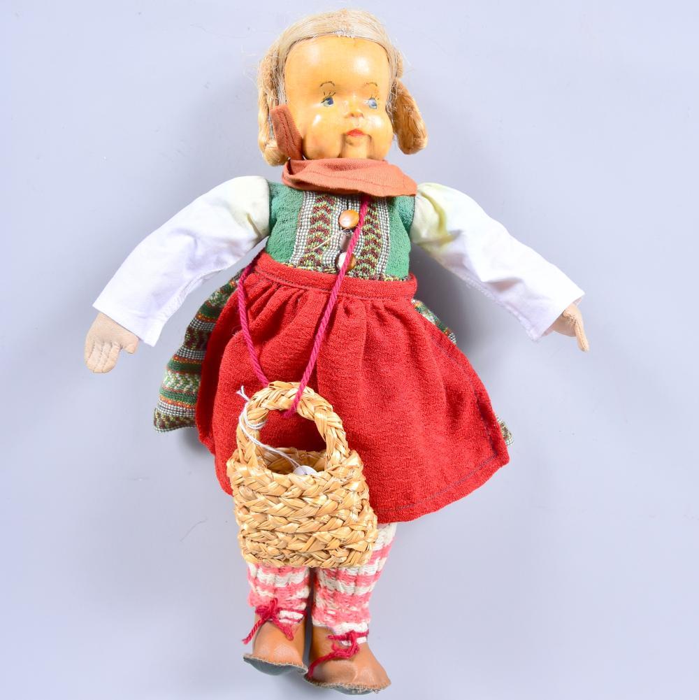 """Krahmer-Puppe """"Kuck in die Welt"""", handgeschnitzter Kopf, Echthaarperücke, handbemaltes Gesicht, individuelle Originalkleidung, um 1950, Chemnitz, schöner Originalzustand, H 31 cm"""