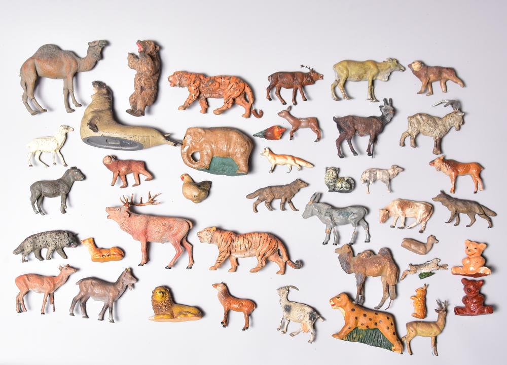 Konvolut Zootiere, um 1930, Masse teilw. Lineol und Elastolin, 41 Stück, stark bespielt, H von 3cm-11cm