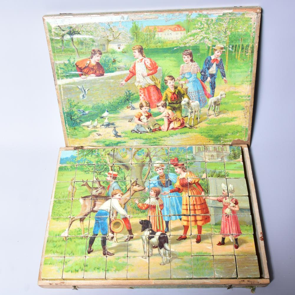 Holzpuzzle, um 1900, im Holzkasten, farbig lithographiert, Deckel lose, stark bespielt