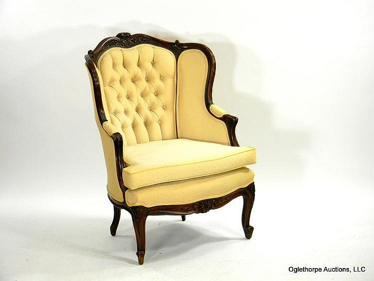 FRENCH MAHOGANY WING CHAIR