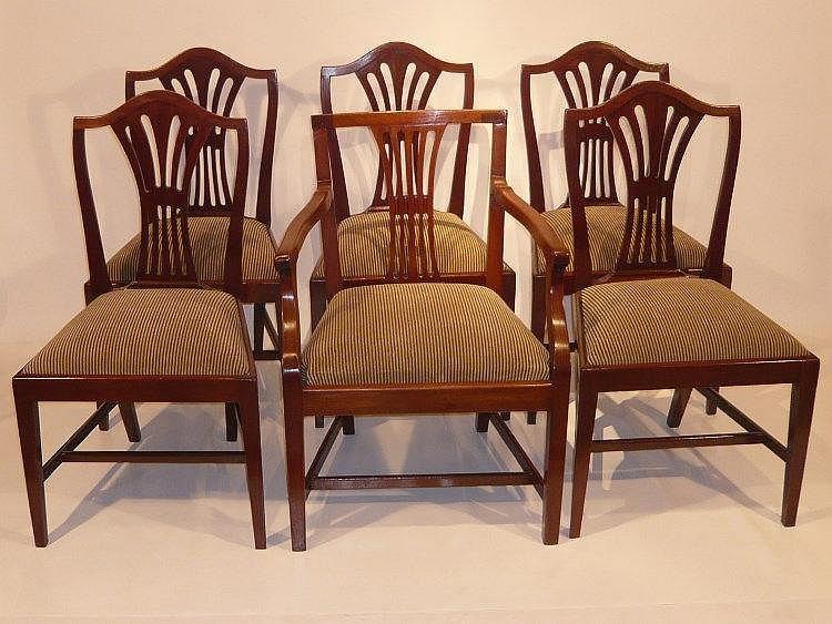 suite de cinq chaises et un fauteuil anglais en acajou et pl. Black Bedroom Furniture Sets. Home Design Ideas