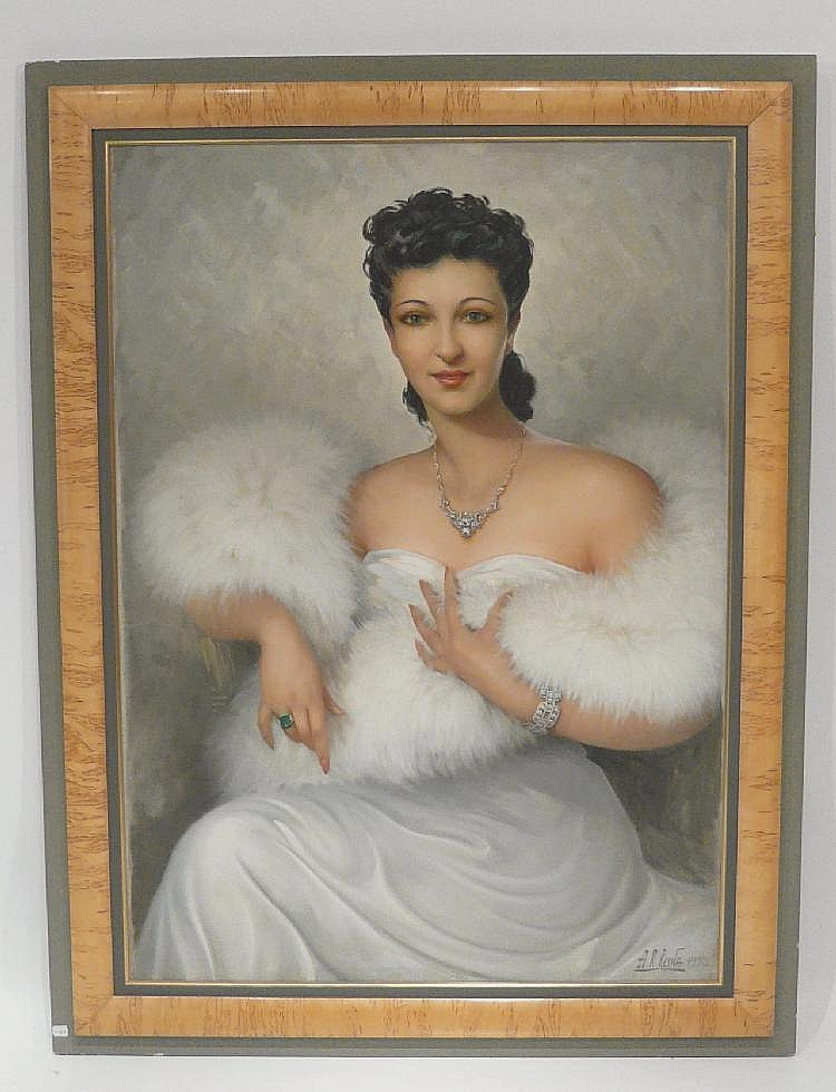 tableau portrait de femme au boa de a r reyna xx. Black Bedroom Furniture Sets. Home Design Ideas
