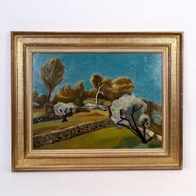 """TABLEAU """"PAYSAGE AU MURET"""" DE Louis LATAPIE (1891-1972) Huile sur panneau signée en bas à droite. Ca"""
