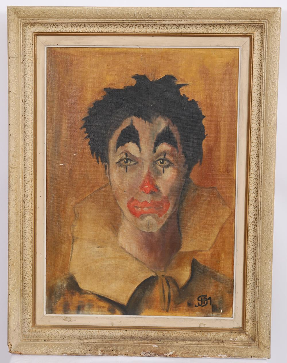 Sold Price Tableau Clown Triste Monogramme J S M Huile Surtoile Monogrammee Enc Invalid Date Cest