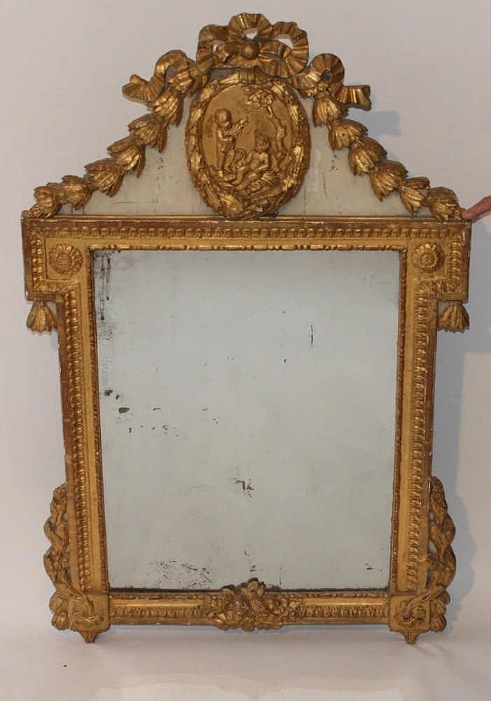 Miroir en bois dore louis xvien bois sculpt et d - Miroir ancien bois dore ...
