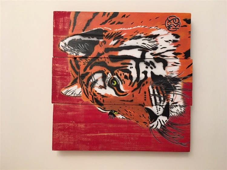 mosko gueule de tigre 2016 acrylique sur panneau en bois t. Black Bedroom Furniture Sets. Home Design Ideas