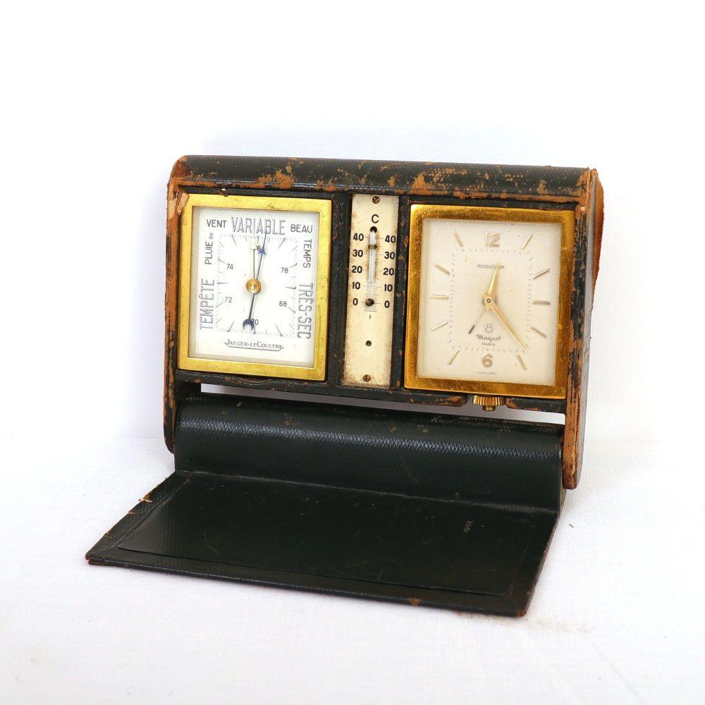 RÉVEIL-BAROMÈTRE-THERMOMÈTRE JAEGER LECOULTRE Dans son écrin dépliant en cuir vert 14,5 x 10,5 x 3