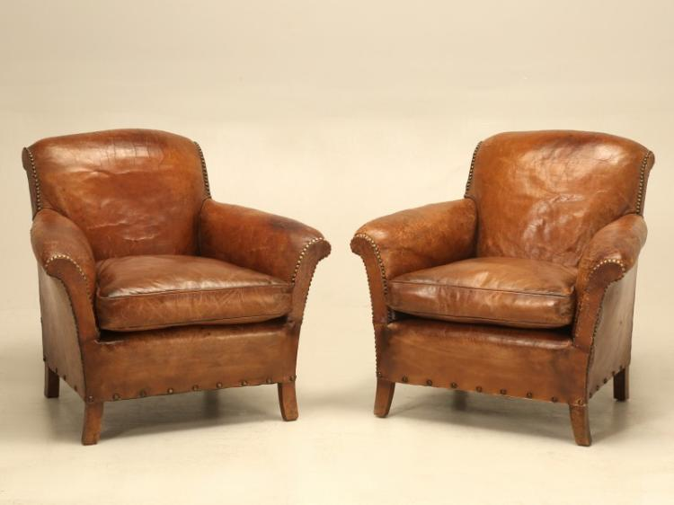 French Art Deco Leather Club Chairs, Restored