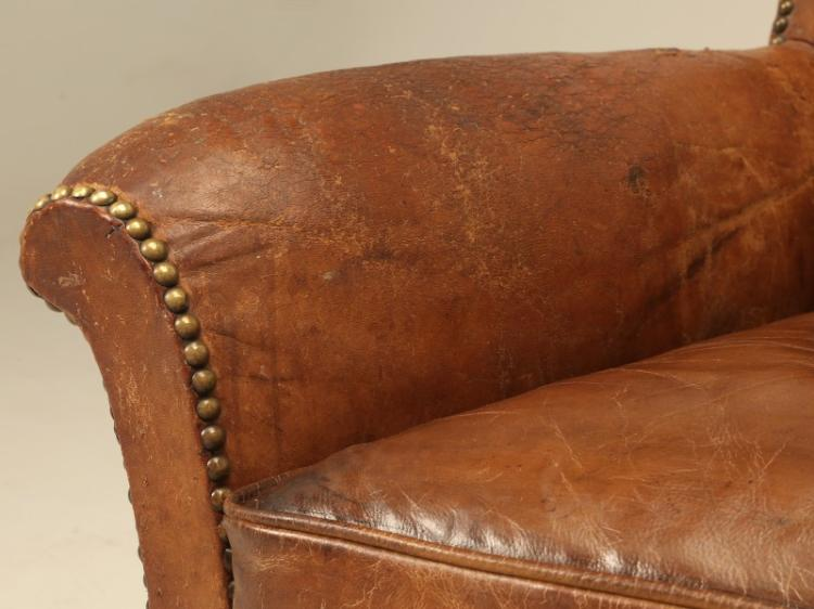 French Art Deco Leather Club Chairs Restored