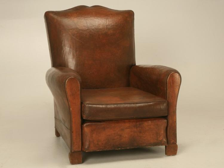 French Deco Leather Moustache Back Club Chair