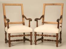 Pair of French Walnut Throne Chairs