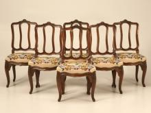 Set of 6 Italian Oak Louis XV Dining Chairs