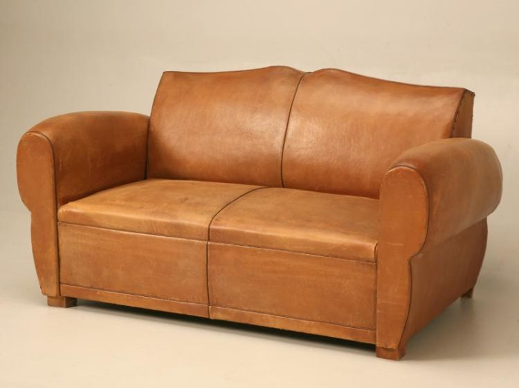 French Leather Moustache Back Settee